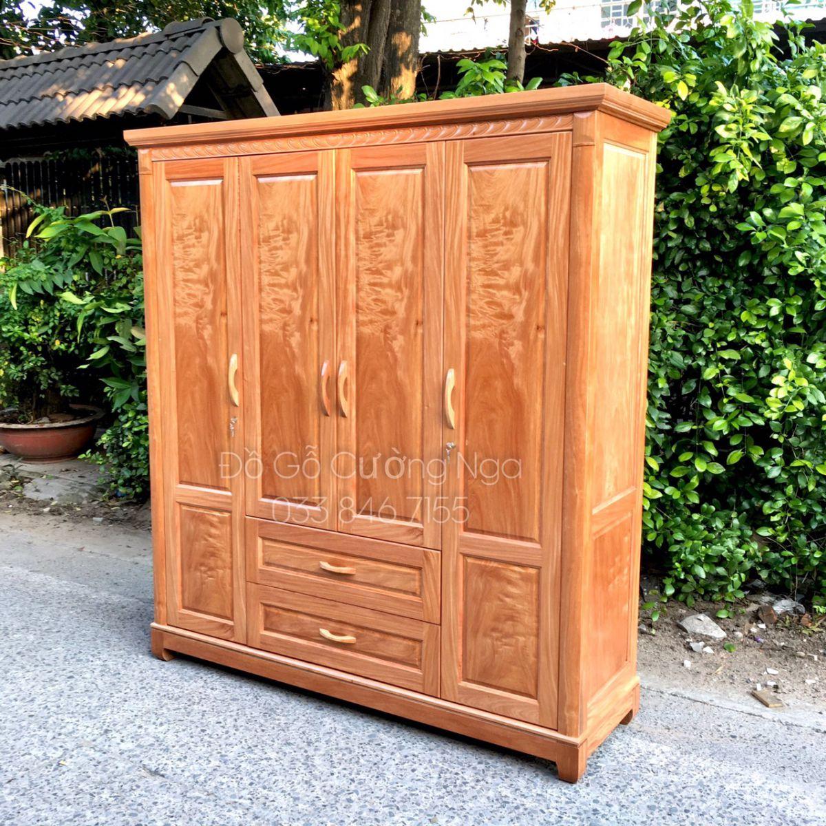 Tủ quần áo gỗ đinh hương 4 cánh