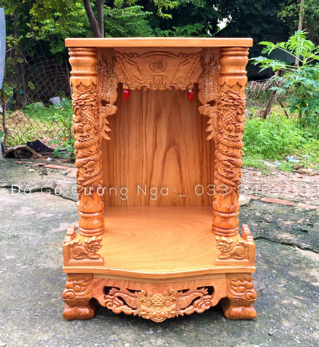 Bàn thờ ông địa - thần tài gõ đỏ 60cmx88cm cột 10