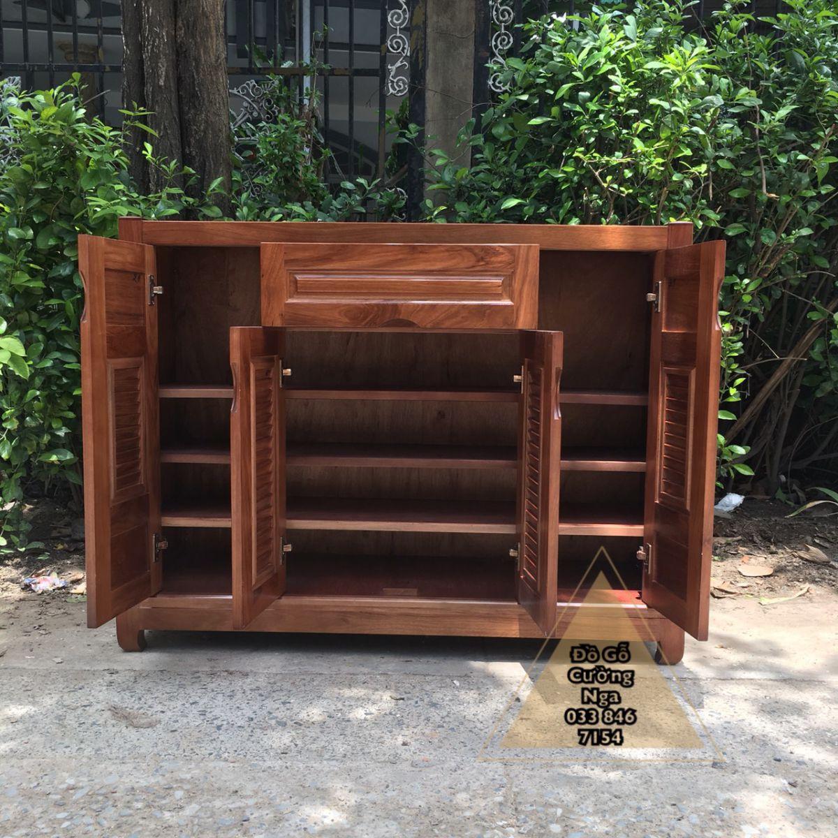 Tủ giày dép gỗ hương xám 4 cánh 1m2
