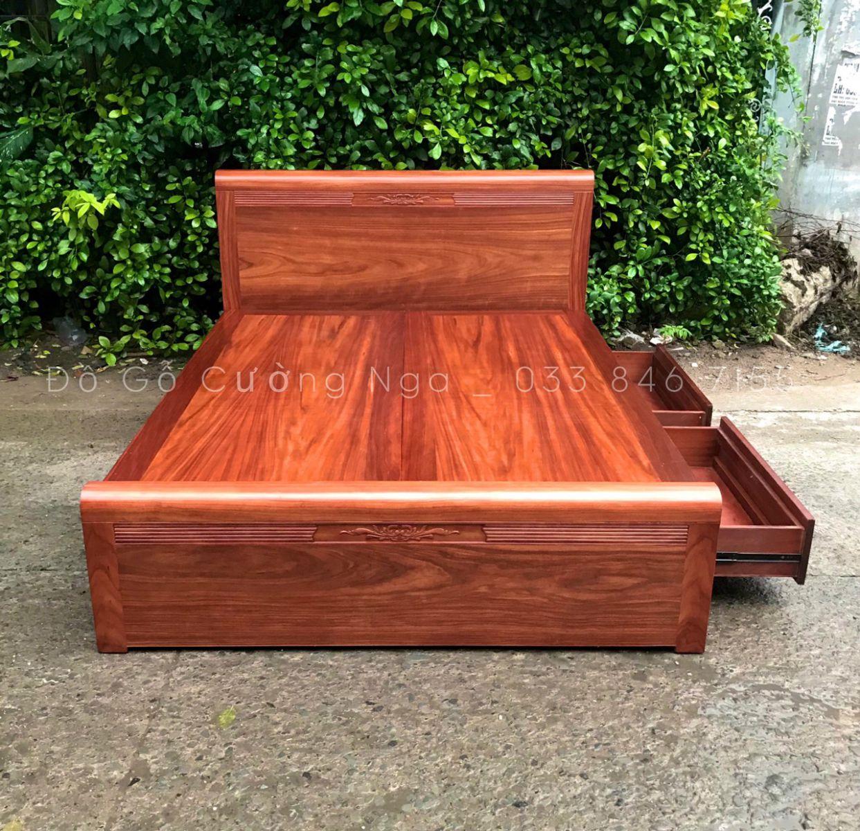 giường ngủ ô kéo gỗ tự nhiên