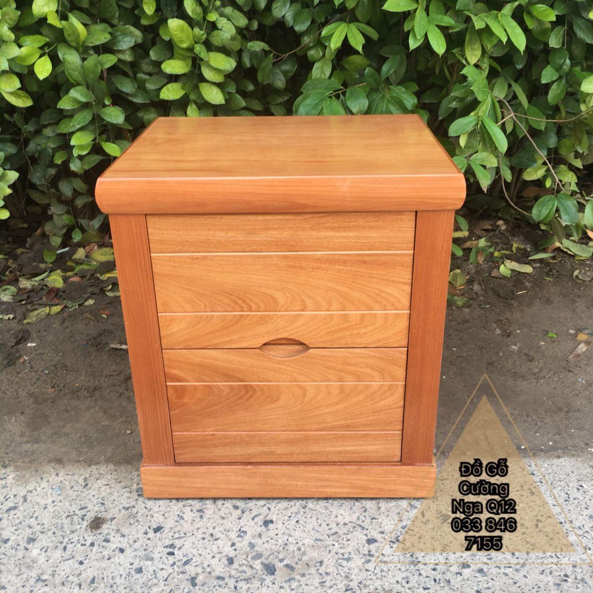 Tủ đầu giường gỗ Hương đá 2 ngăn kéo