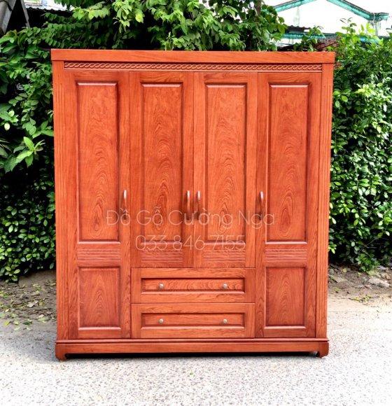 tủ quần áo gỗ hương đá 4 cánh 2m