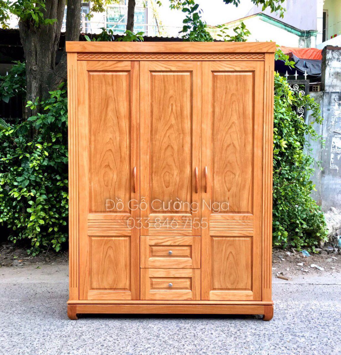Tủ quần áo gỗ gõ đỏ 3 cánh 1m6 tại Đồ Gỗ Cường Nga quận 12