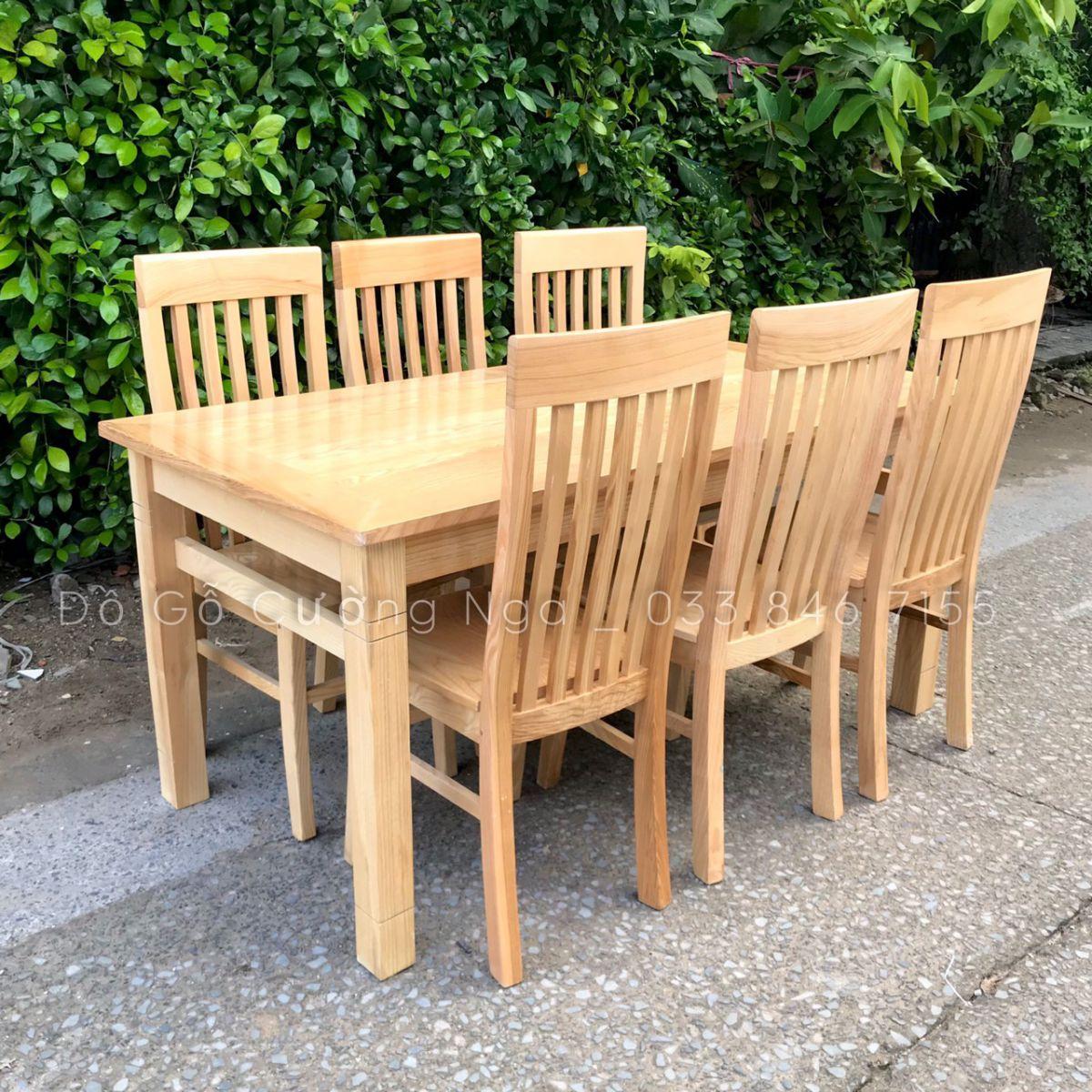 bàn ăn 6 ghế gỗ sồi nga