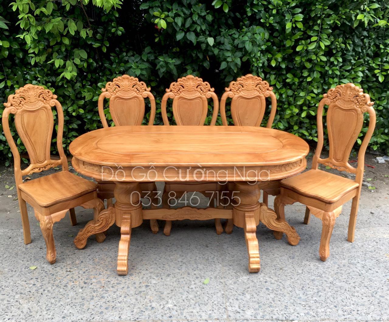 bàn ăn 6 ghế gỗ gõ đỏ