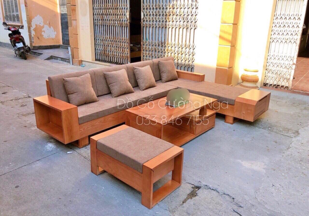 bộ sofa góc gỗ sồi nga
