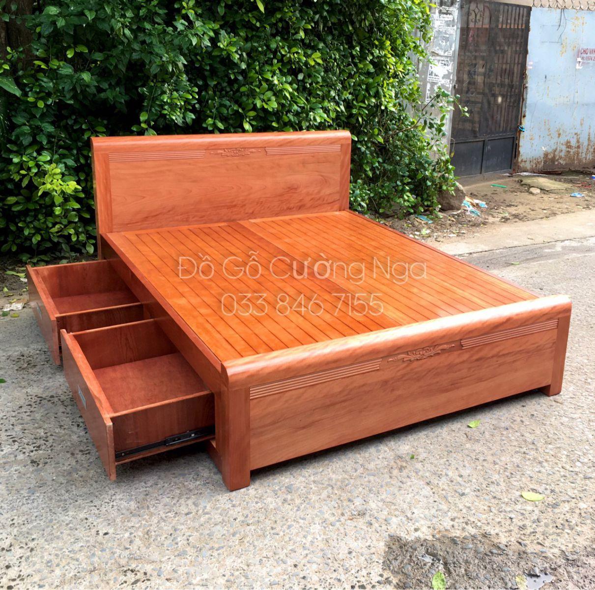 giường ô kéo gỗ xoan đào