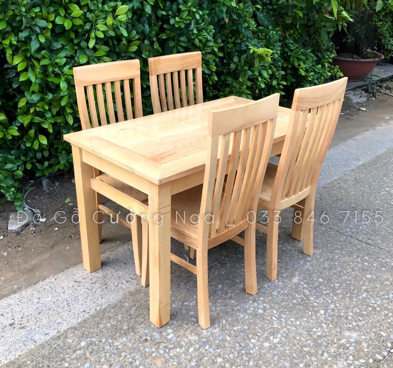bàn ăn 4 ghế gỗ sooifn ga mặt liề