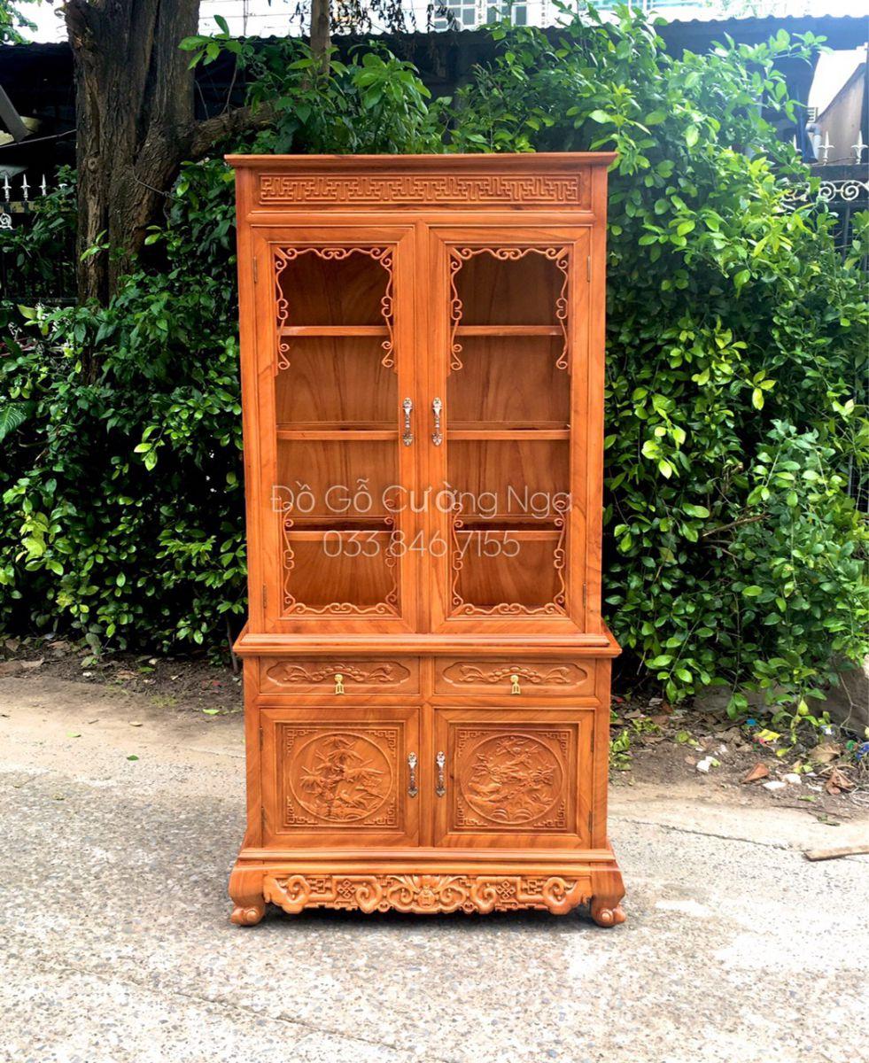 Tủ rượu vuông gỗ gõ đỏ- 1m