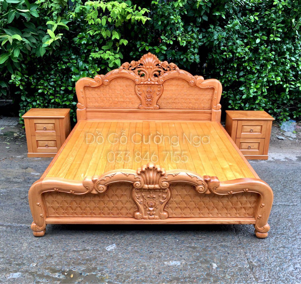 Giường ngủ gỗ gõ đỏ tự nhiên cao cấp
