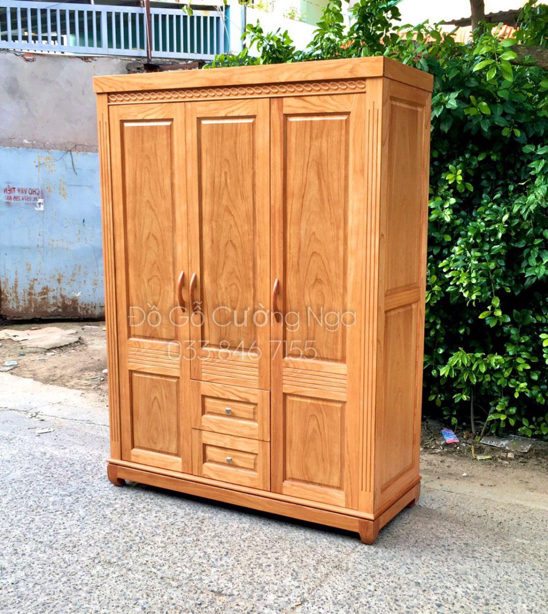Tủ áo gỗ gõ đỏ 3 cánh 1m6 giá rẻ quận 12 tp hcm