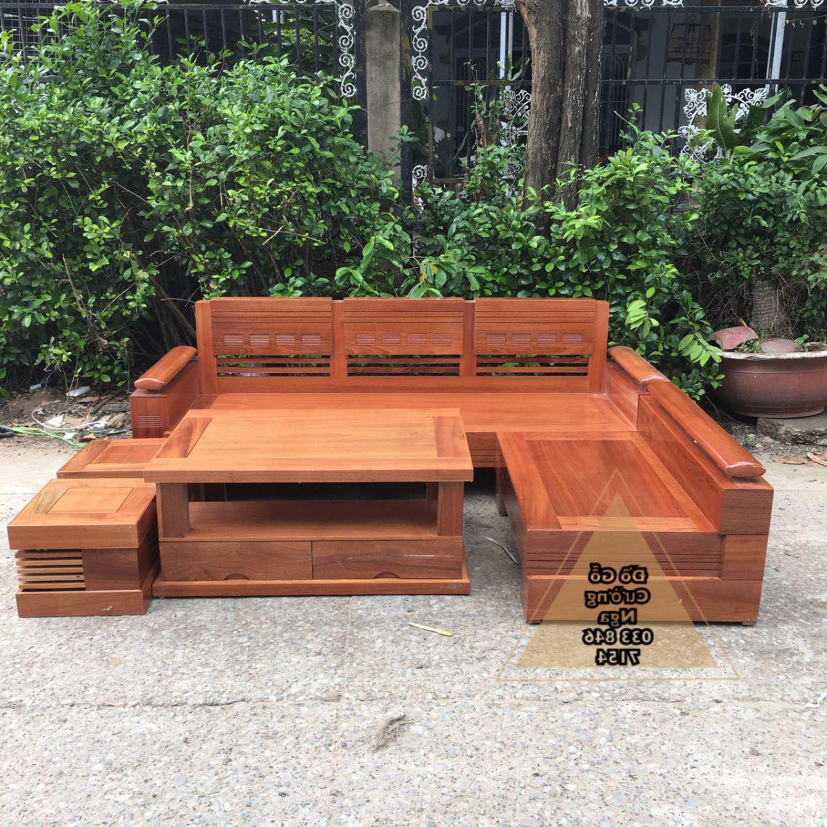 Bộ bàn ghế sofa gỗ Xoan Đào 2m1x1m65 tray trứng (Ảnh 1)