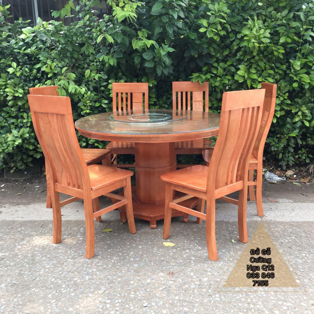 bàn ăn tròn xoay gỗ sồi nga 6 ghế