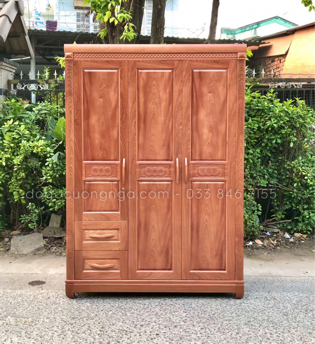 Tủ áo gỗ xoan đào 3 cánh mẫu đồng tiền (Ảnh 1)
