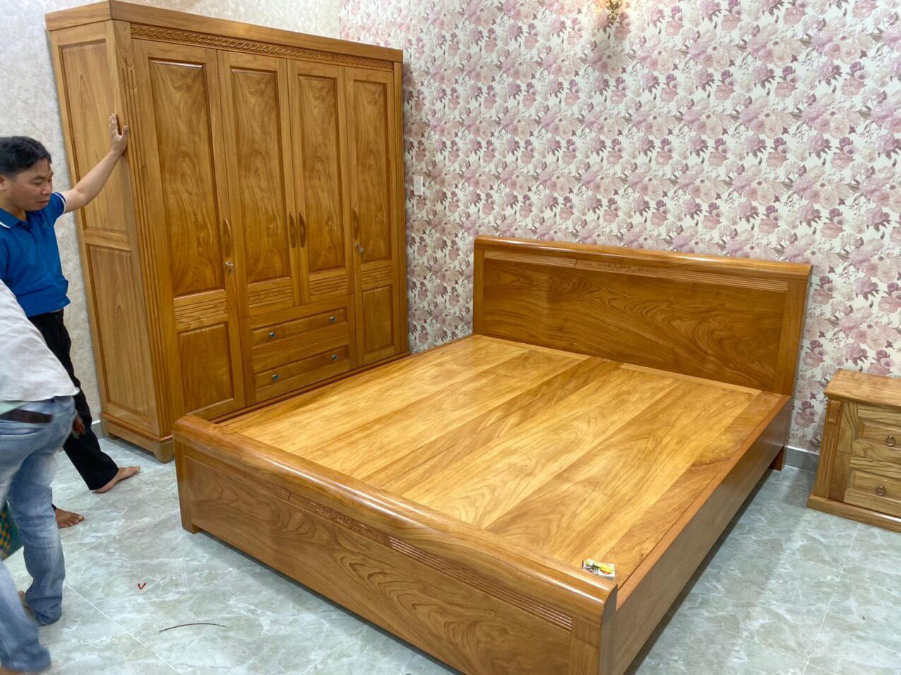 bộ giường ngủ gỗ gõ đỏ đơn giản