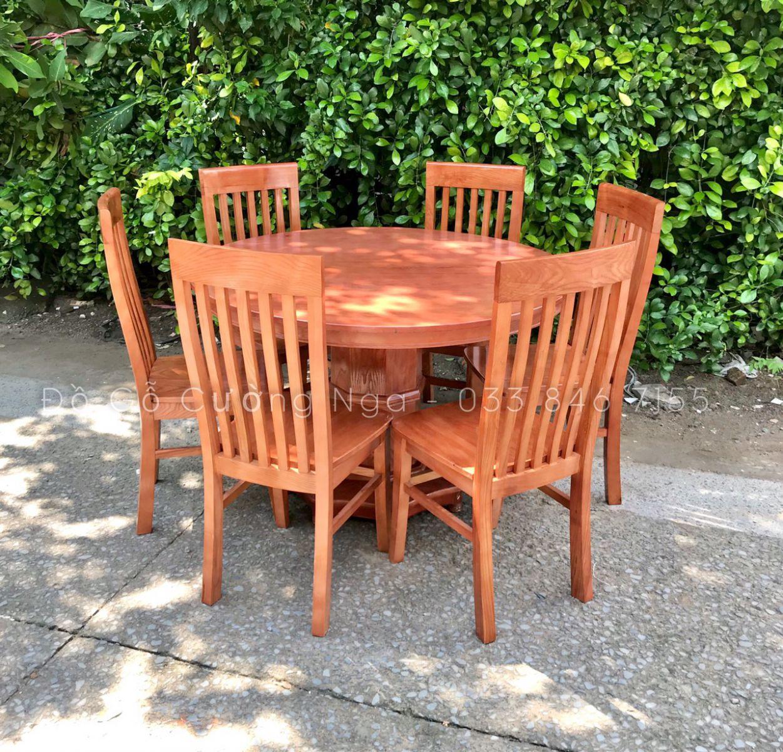 bàn ăn tròn 6 ghế gỗ sồi nga