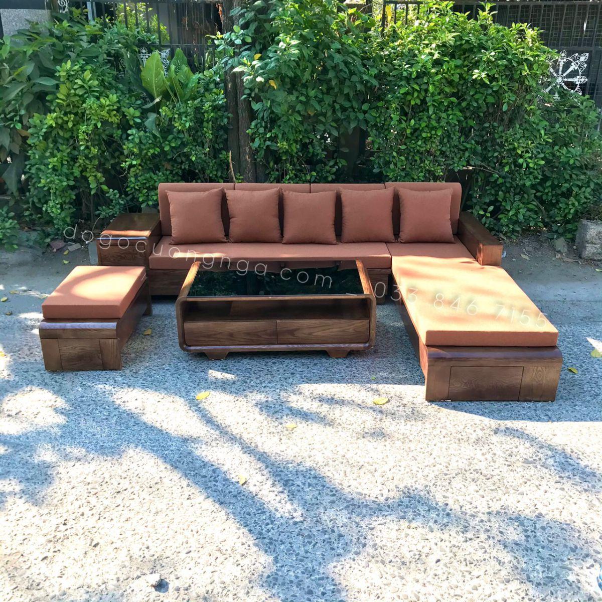 Bộ Sofa Gỗ Góc Sồi Nga Lau Mùa Óc Chó Chân Cuốn 2m8x1m8 kèm nệm (Ảnh 3)