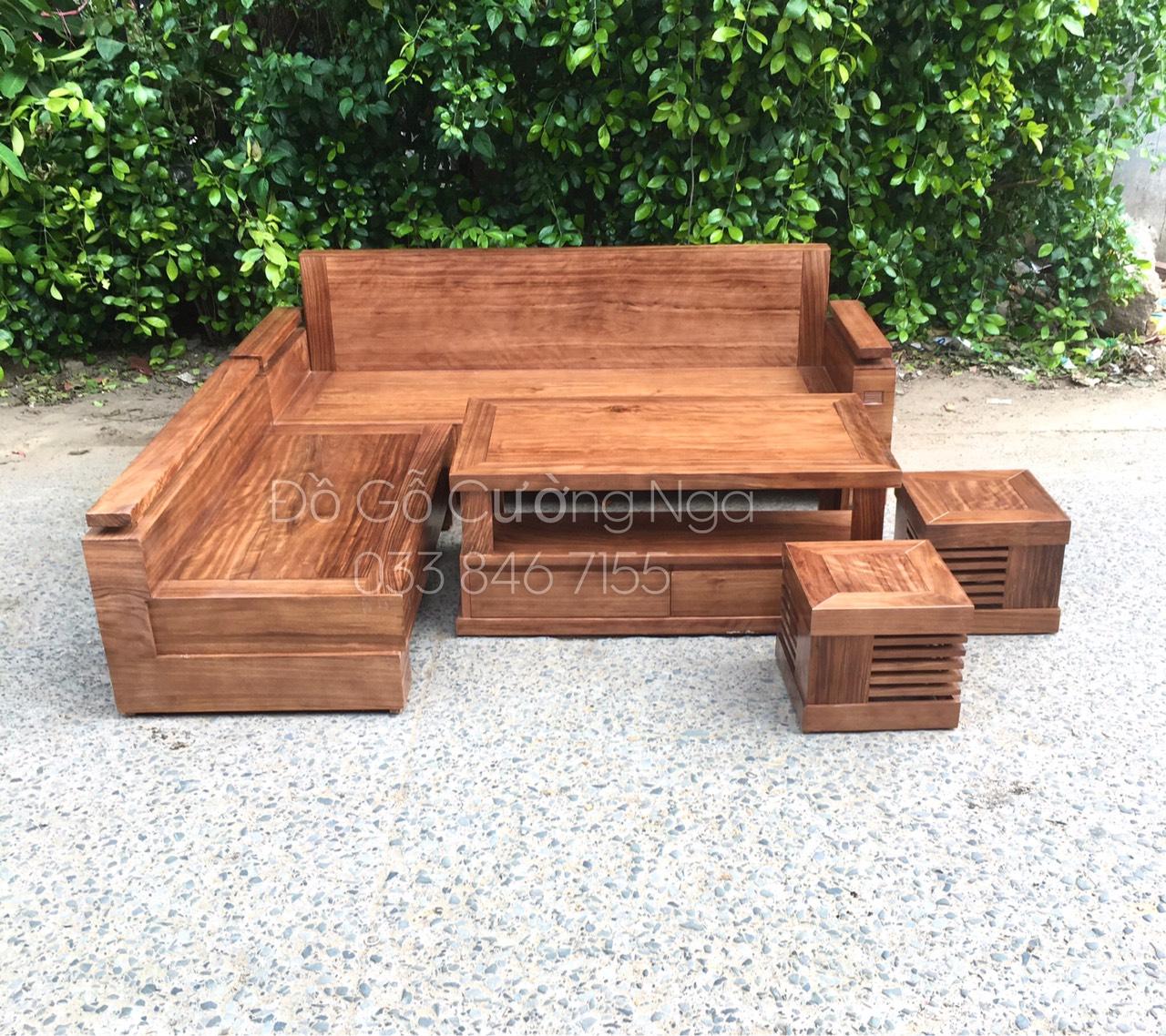 Bộ sofa gỗ Hương Xám chân hộp  2mx1m8 góc L chân hộp - MS 0.105 (Ảnh 1)