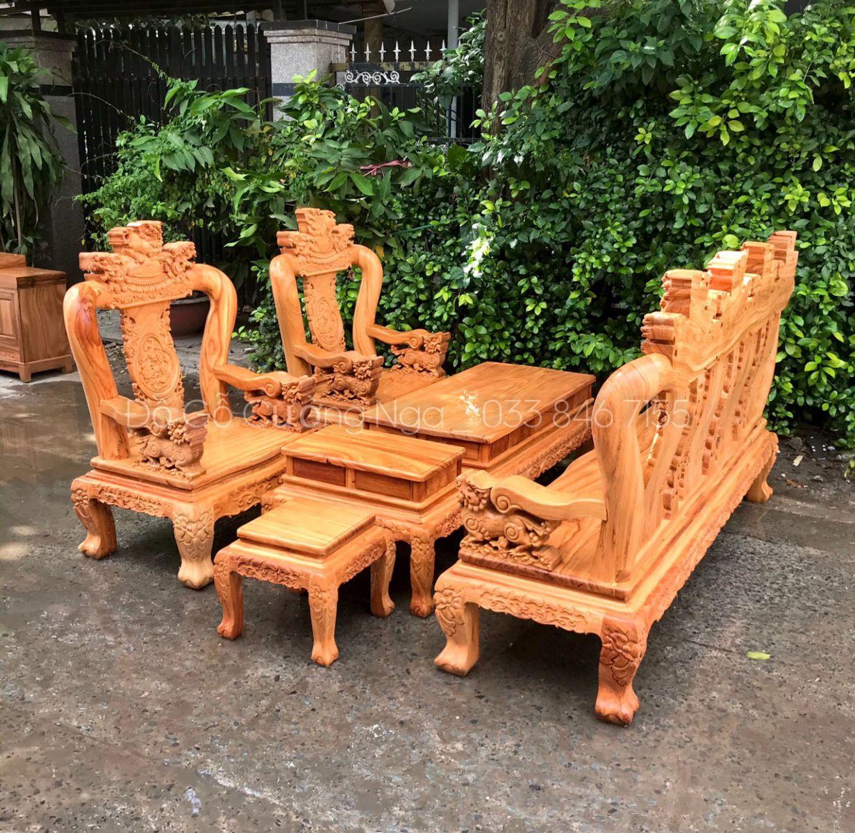bàn ghế phòng khách gỗ gõ đỏ tay 12