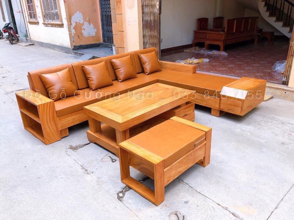sofa gỗ gõ đỏ hiện dại