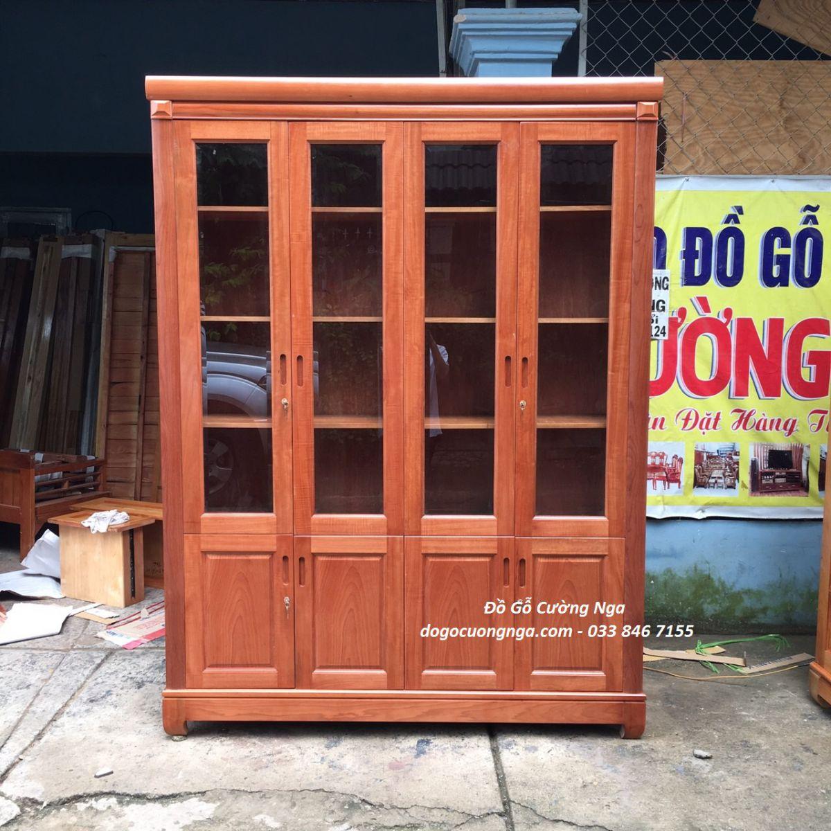 tủ sách gỗ xoan đào