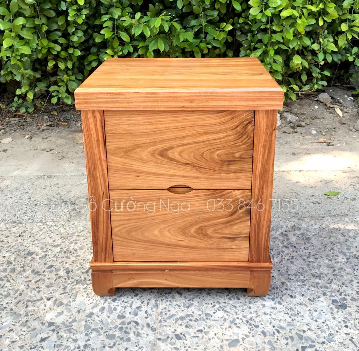Tủ đầu giường gỗ hương xám 2 ngăn kéo tiện lợi