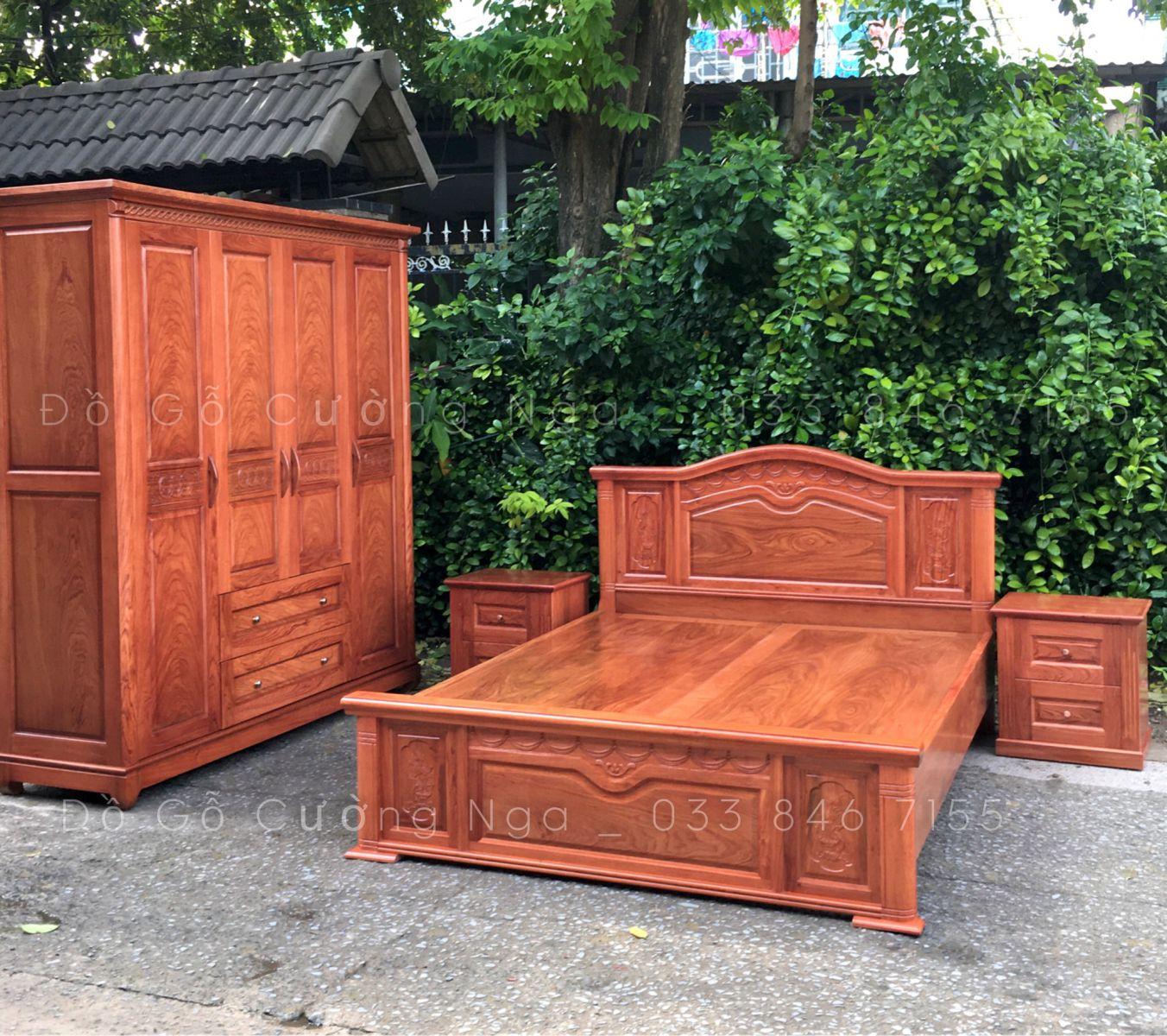 combo giường tủ quần áo gỗ hương đá