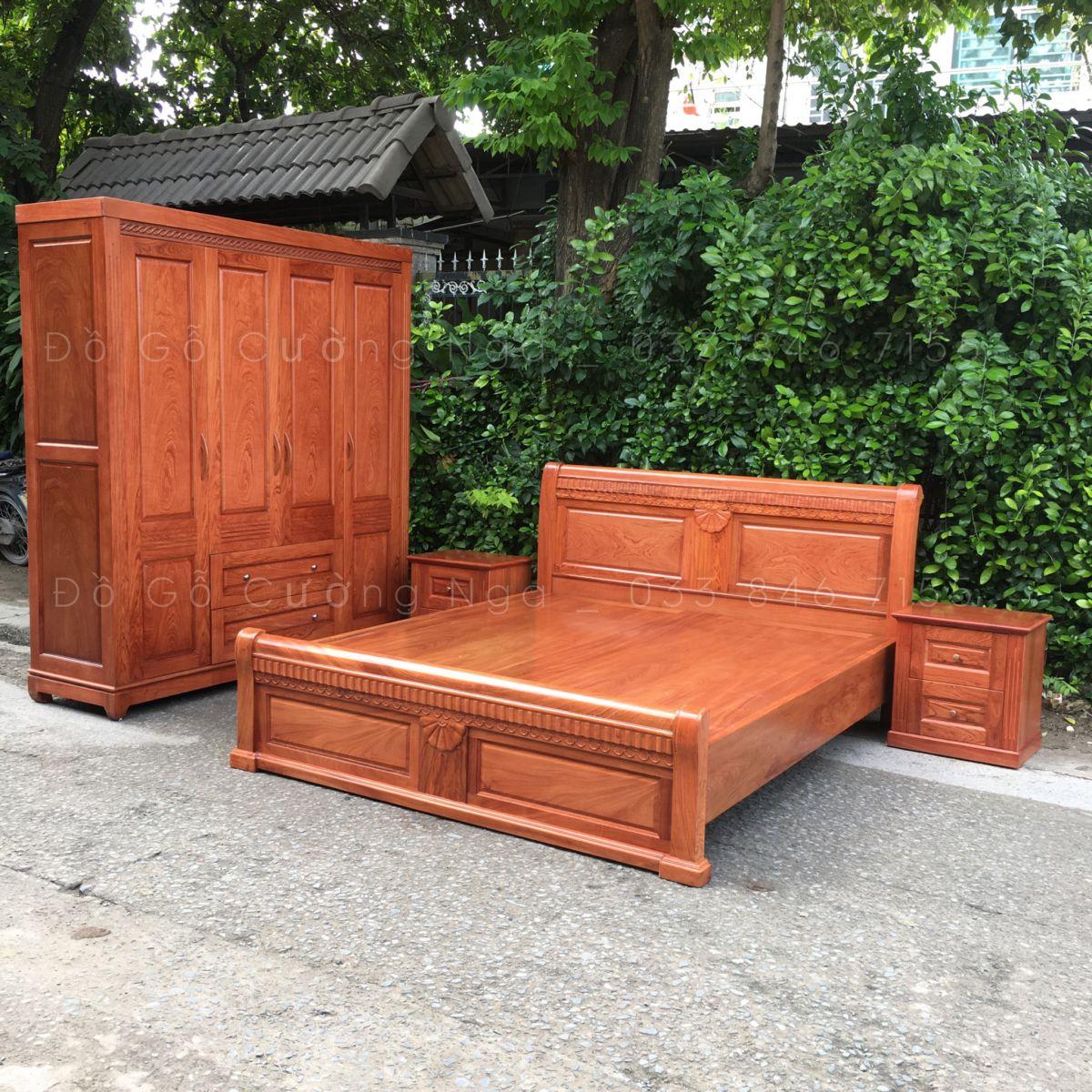 bộ giường tủ quần áo gỗ tự nhiên