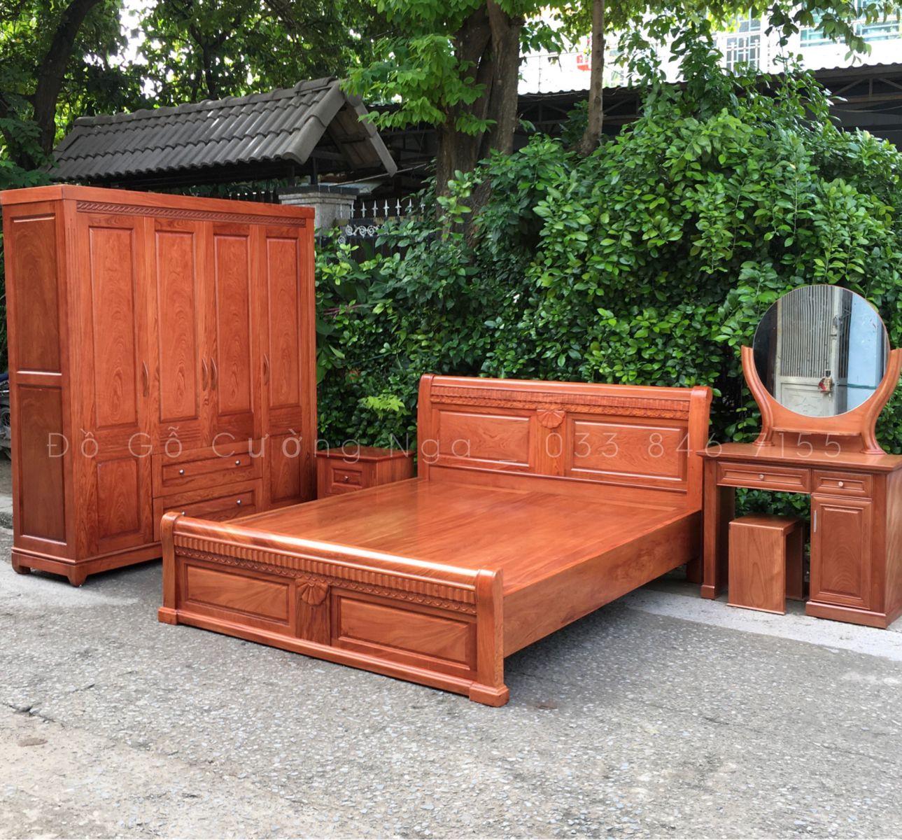 bộ combo phòng ngủ gỗ hương đá giá rẻ tp hcm