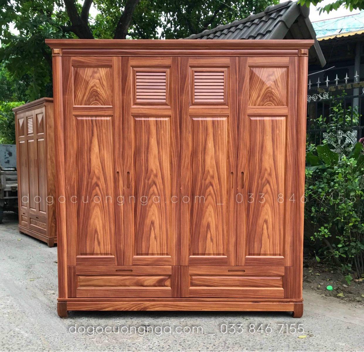 Tủ quần áo gỗ cẩm 4 cánh giá rẻ