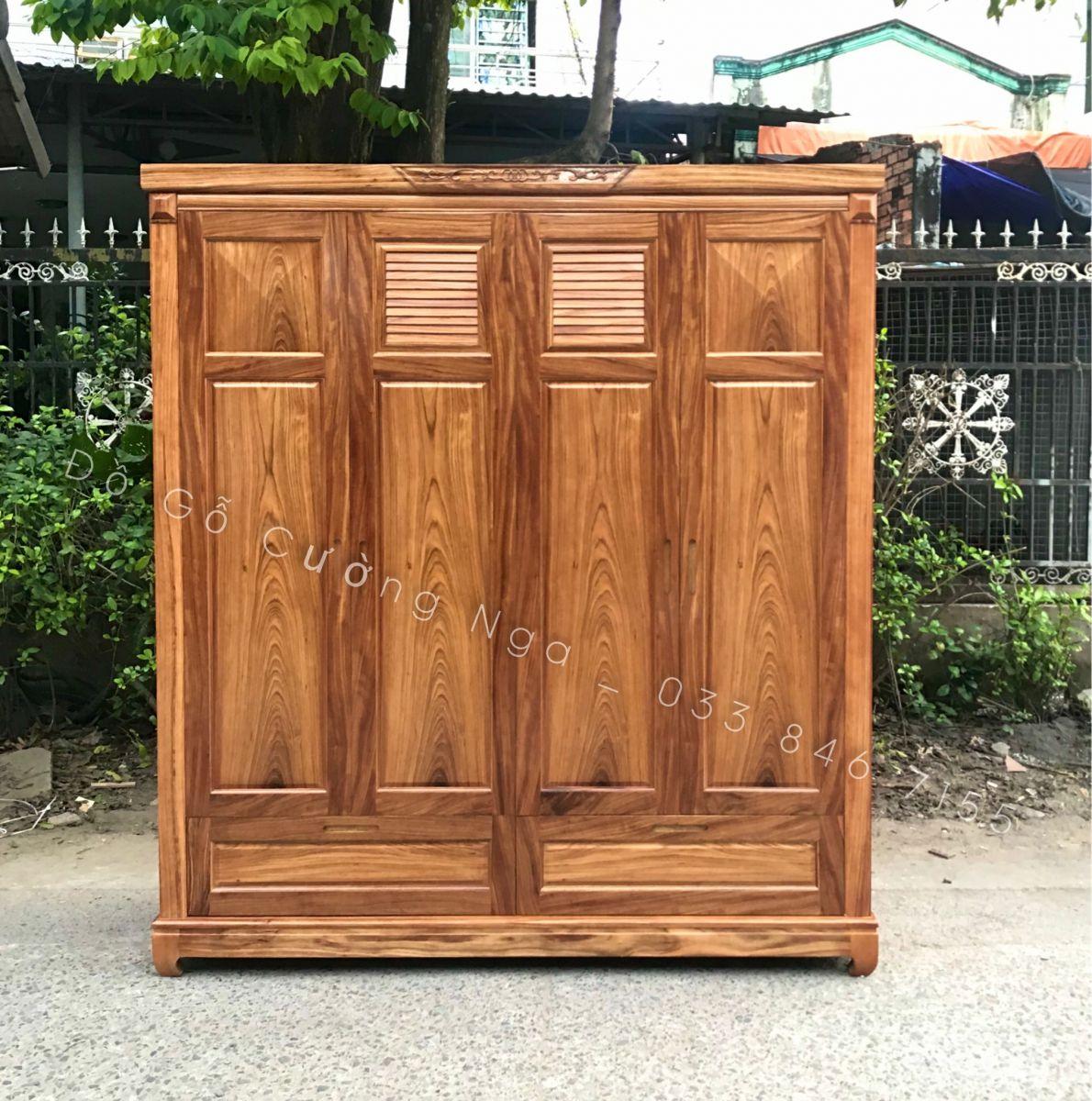 tủ quần áo gỗ hương xám 4 cánh giá rẻ