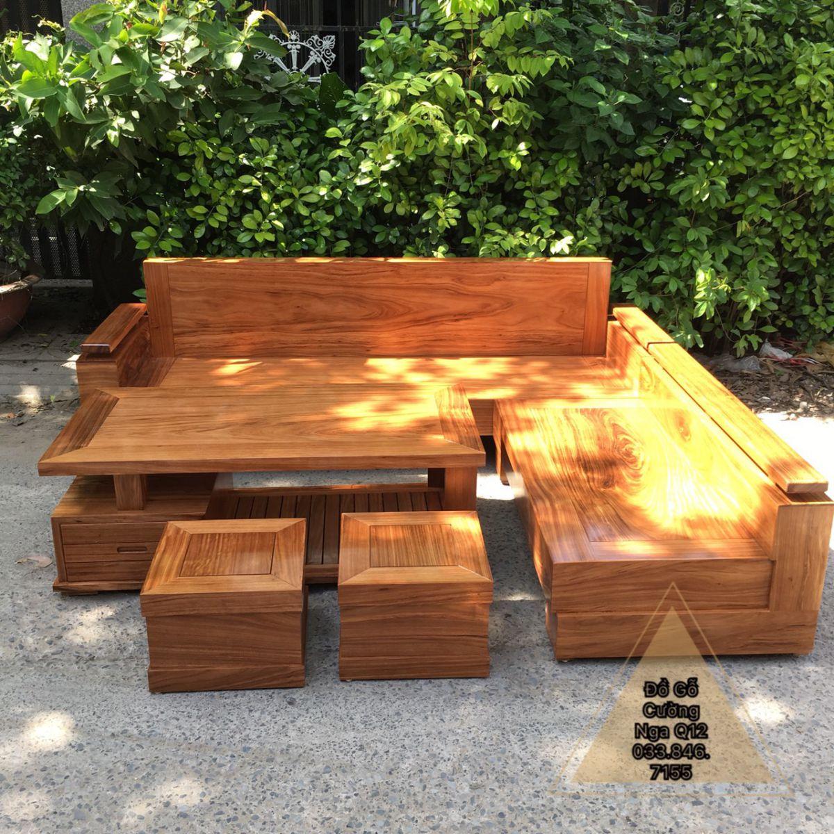 bộ sofa gỗ hương xám góc L