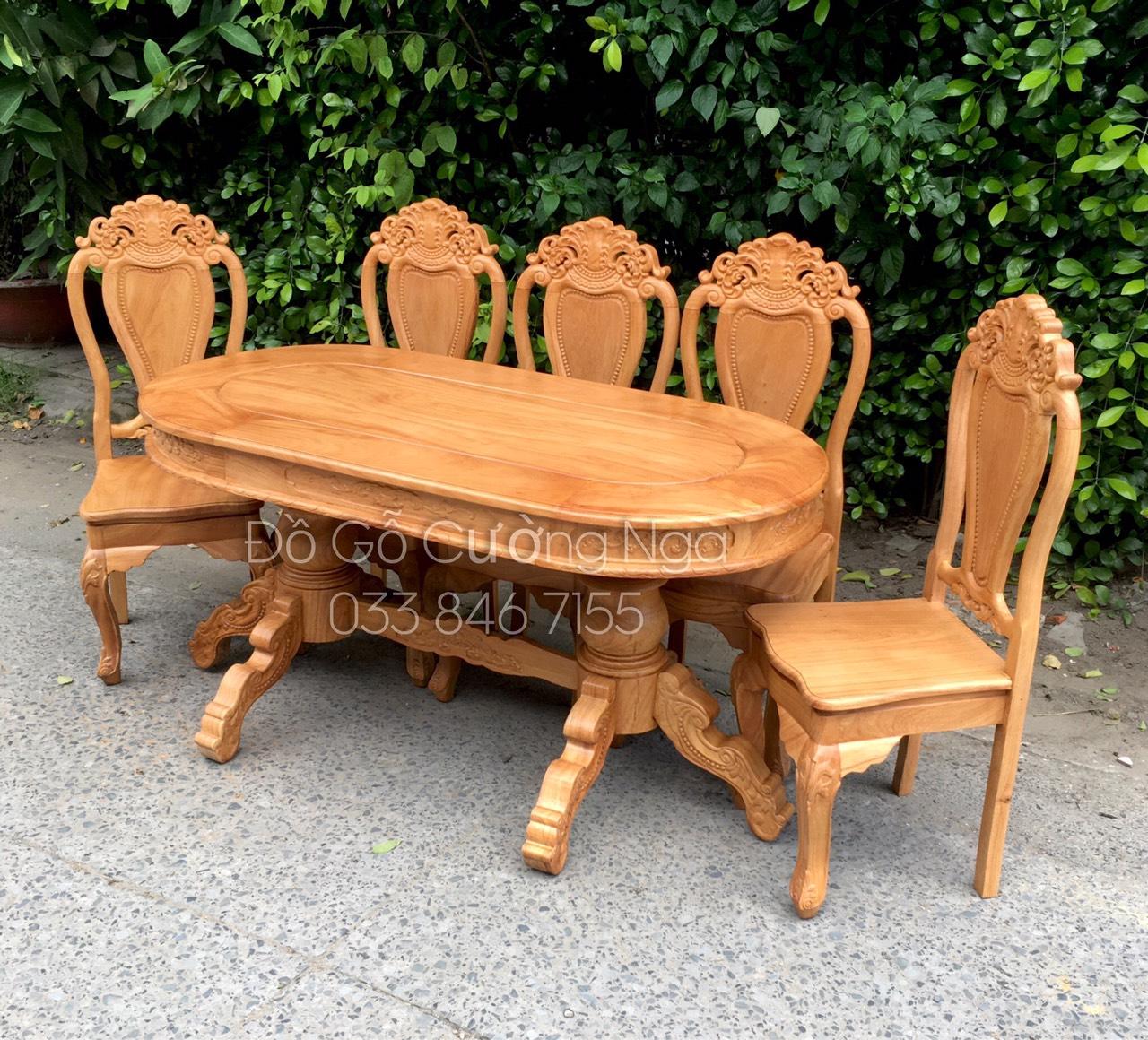 bàn ăn gỗ gõ đỏ 6 ghế