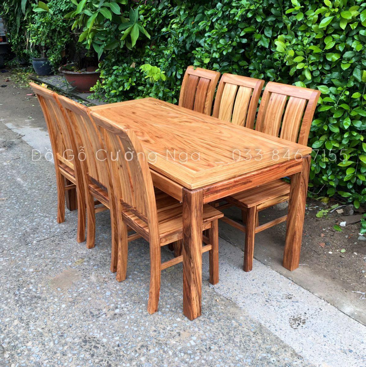 bàn ăn gỗ hương xám 6 ghế