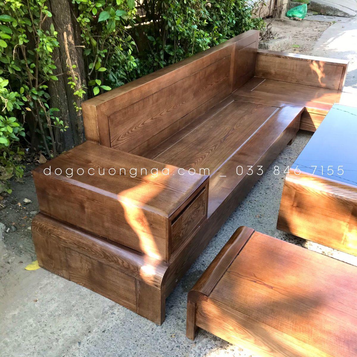 sofa gỗ gõ hương xám đơn giản