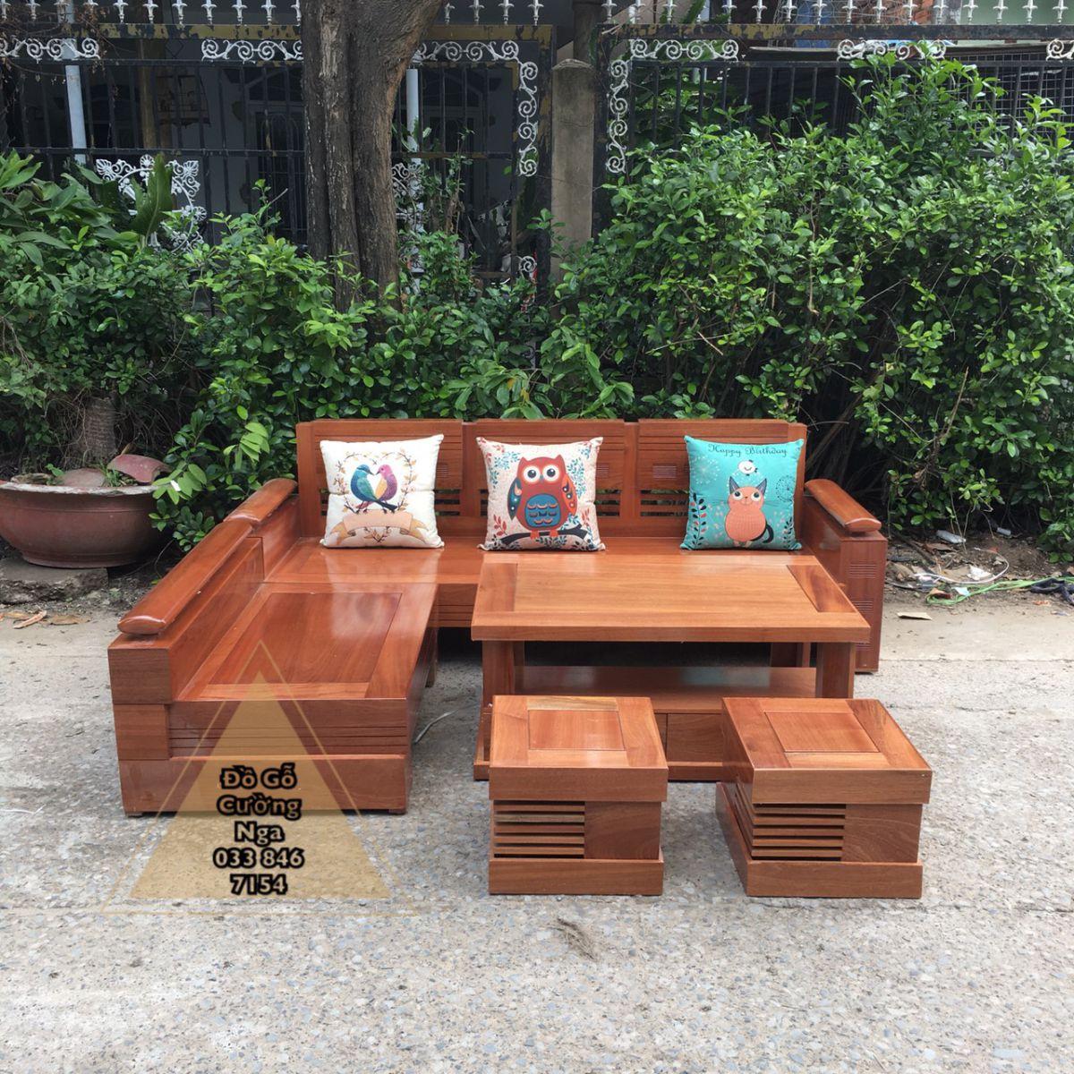 Bộ bàn ghế sofa gỗ Xoan Đào 2m1x1m65 tray trứng (Ảnh 3)