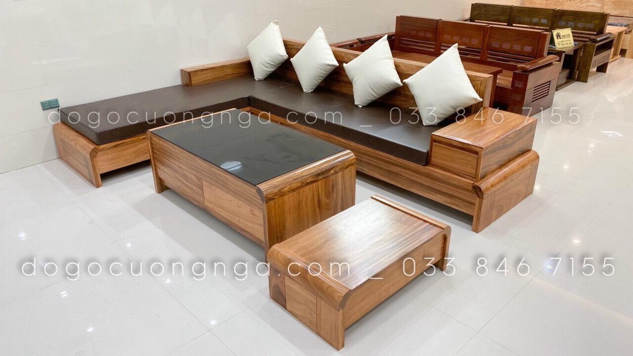 bàn ghế salon góc gỗ sồi nga