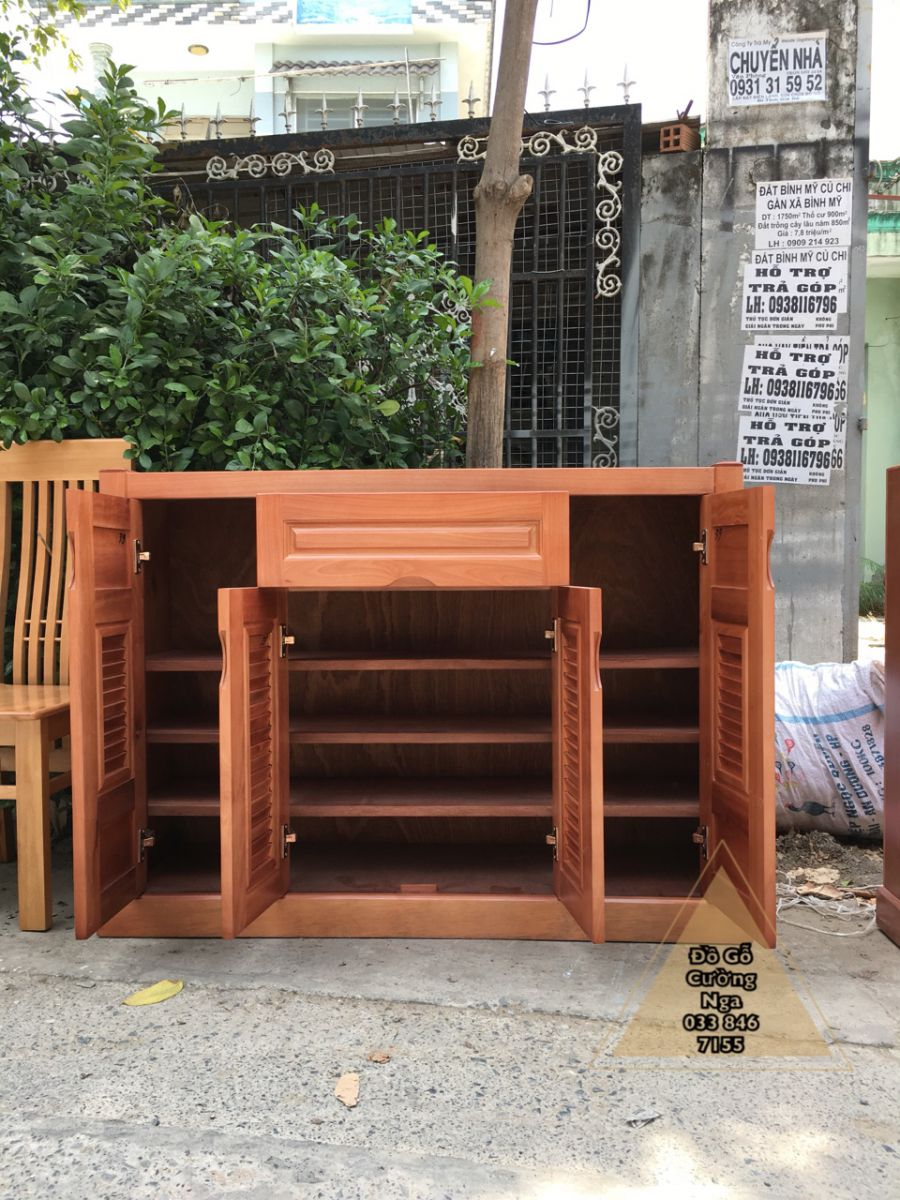 Tủ giày dép gỗ xoan đào 1m2