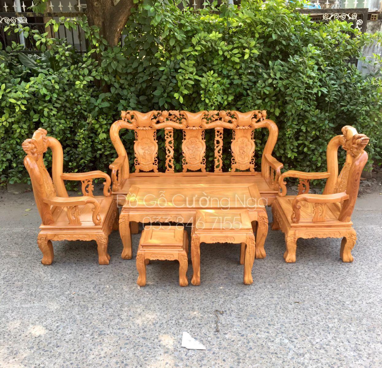 salon gỗ gõ đỏ tay 12 6 món quận 12