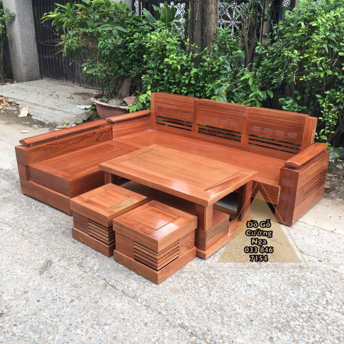 Bộ bàn ghế sofa gỗ Xoan Đào 2m1x1m65 tray trứng (Ảnh 2)