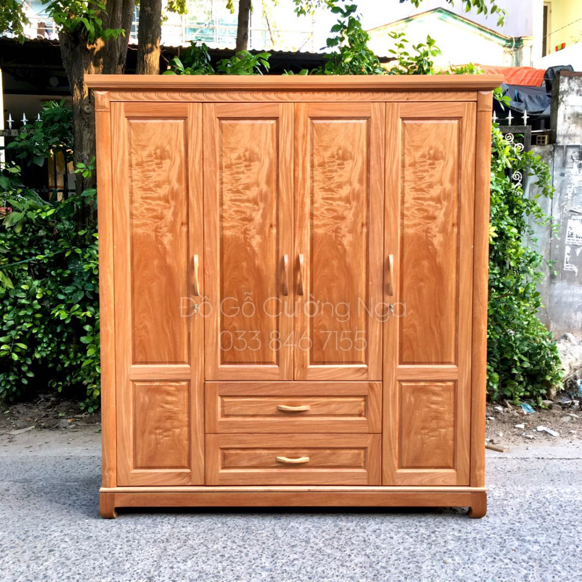 Tủ quần áo gỗ đinh hương 4 cánh - 2m tại quận 12