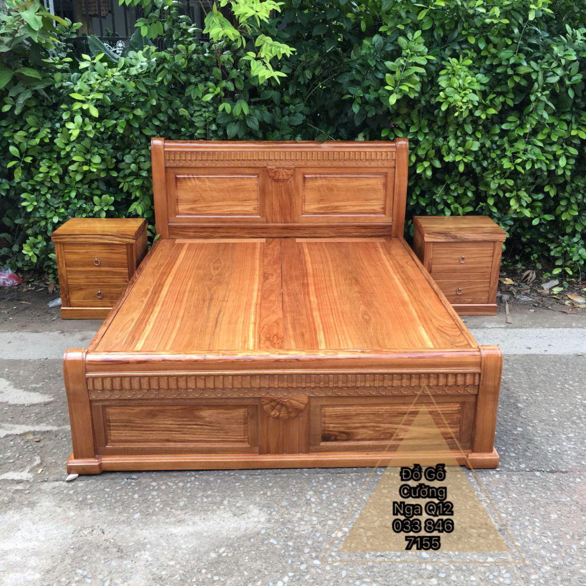 giường ngủ gỗ hương xám phản liền tấm