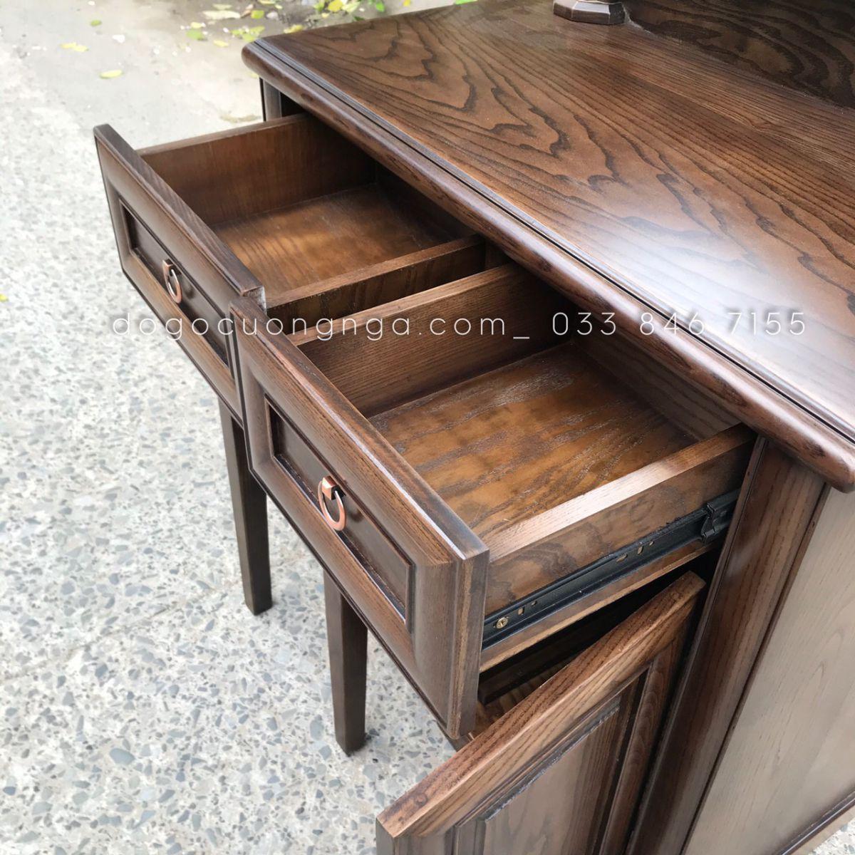 Thiet kế bên trong bàn trang điểm gỗ sồi lau màu óc chó