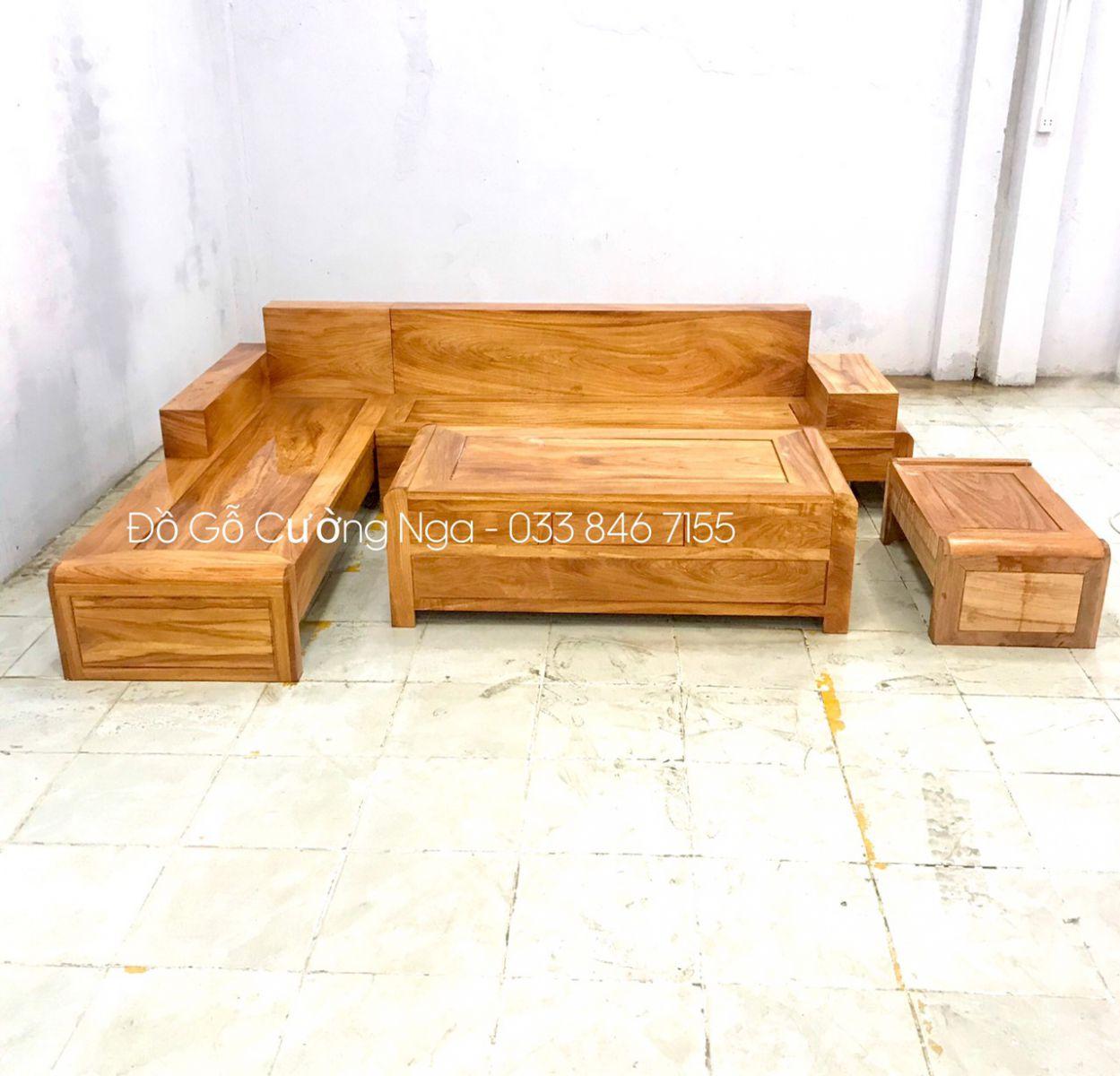 bàn ghế phòng khách góc gỗ hương xám