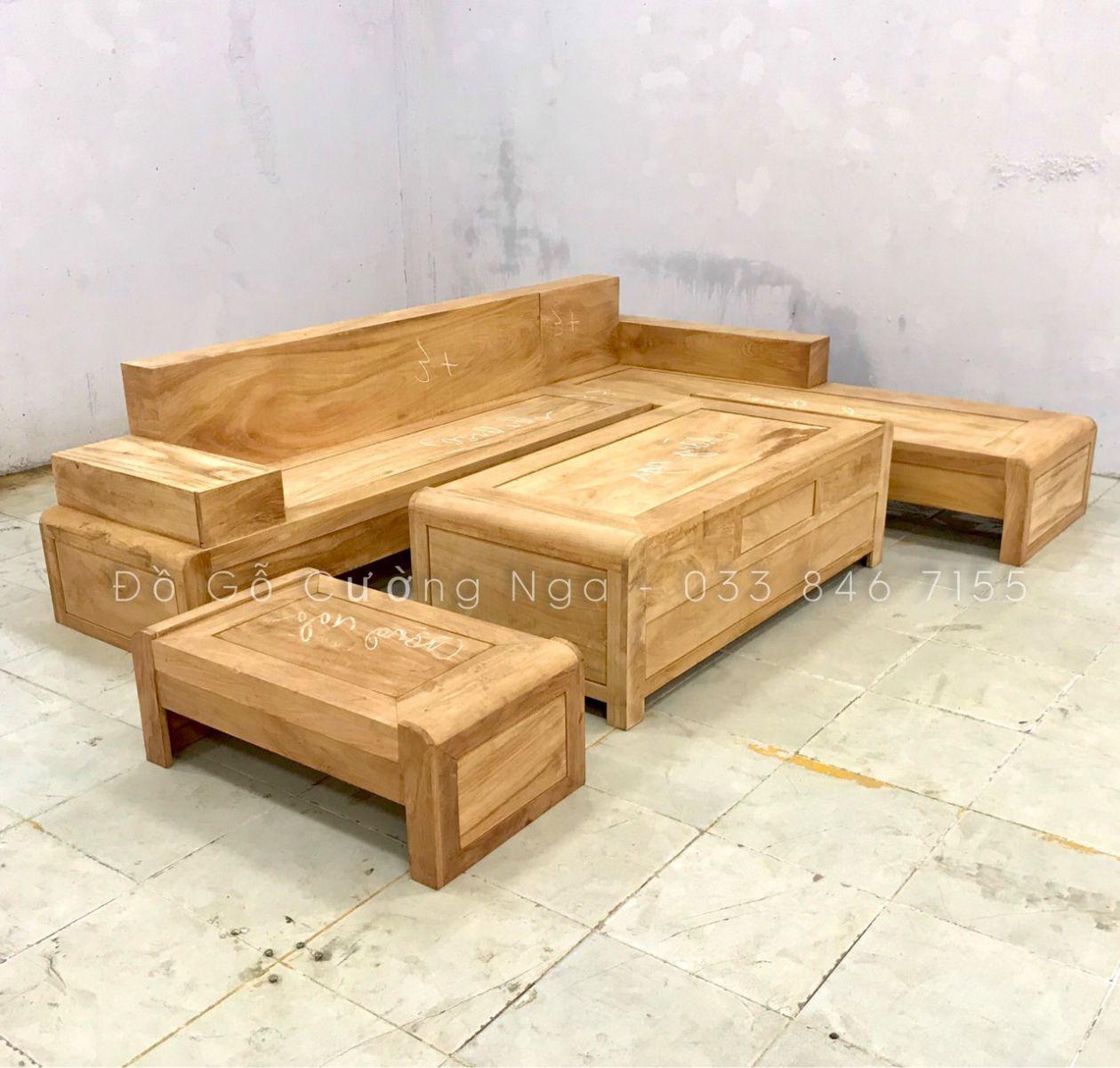 bàn ghế sofa gỗ góc hương xám hiện đại