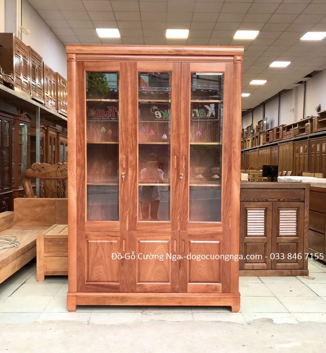 tủ sách - tủ hồ sơ gỗ xoan đào 1m4