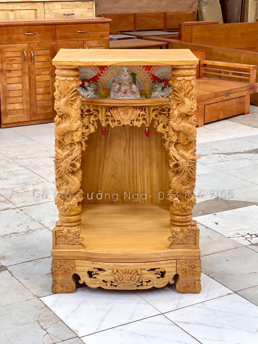 Bàn thờ Ông Địa - Thần Tài Gõ Đỏ 68cmX1m07 cột 14