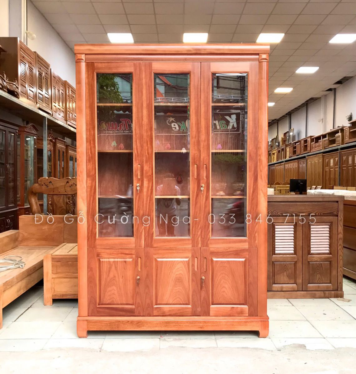 Tủ dựng hồ sơ gỗ xoan đào 3 cánh 1m4 - nội thất văn phòng