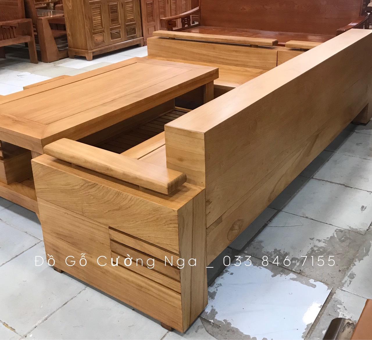 Bộ Sofa Góc Gỗ Gõ Đỏ Tay Trứng - 2m44x2m Đóng Hộp (Ảnh 3)
