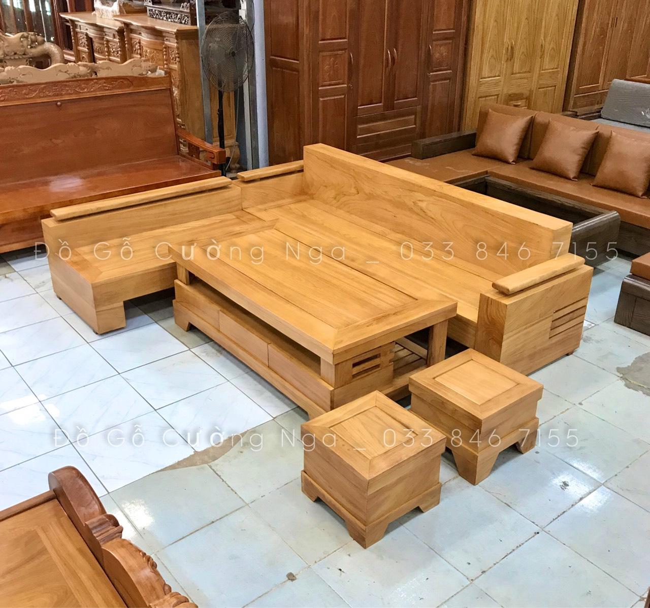 Bộ Sofa Góc Gỗ Gõ Đỏ Tay Trứng - 2m44x2m Đóng Hộp (Ảnh 2)
